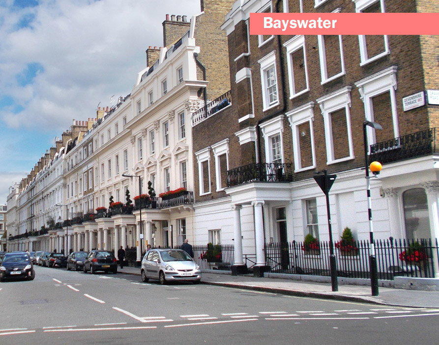 Photo of a typical street in the part of London called Bayswater