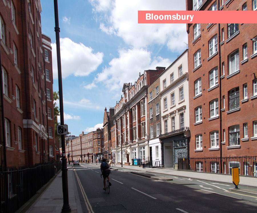 Typical street in London's Bloomsbury