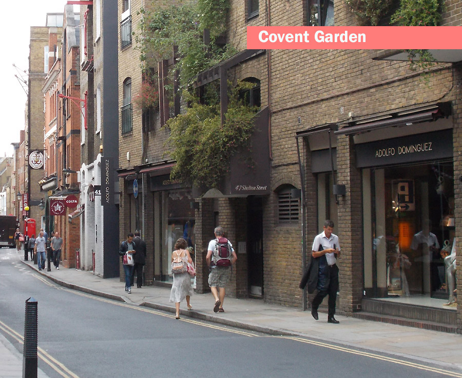 Typical street in London's Covent Garden