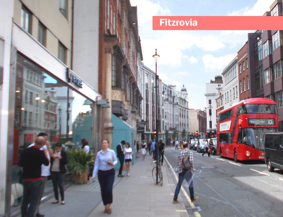 A typical street in London's Fitzrovia