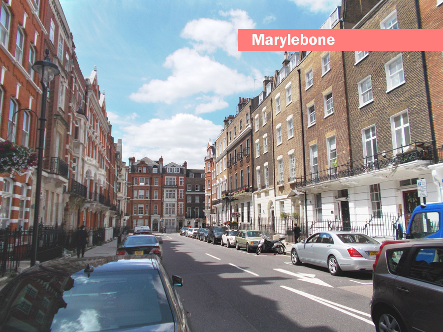 Photo of a typical street in the part of London called Marylebone