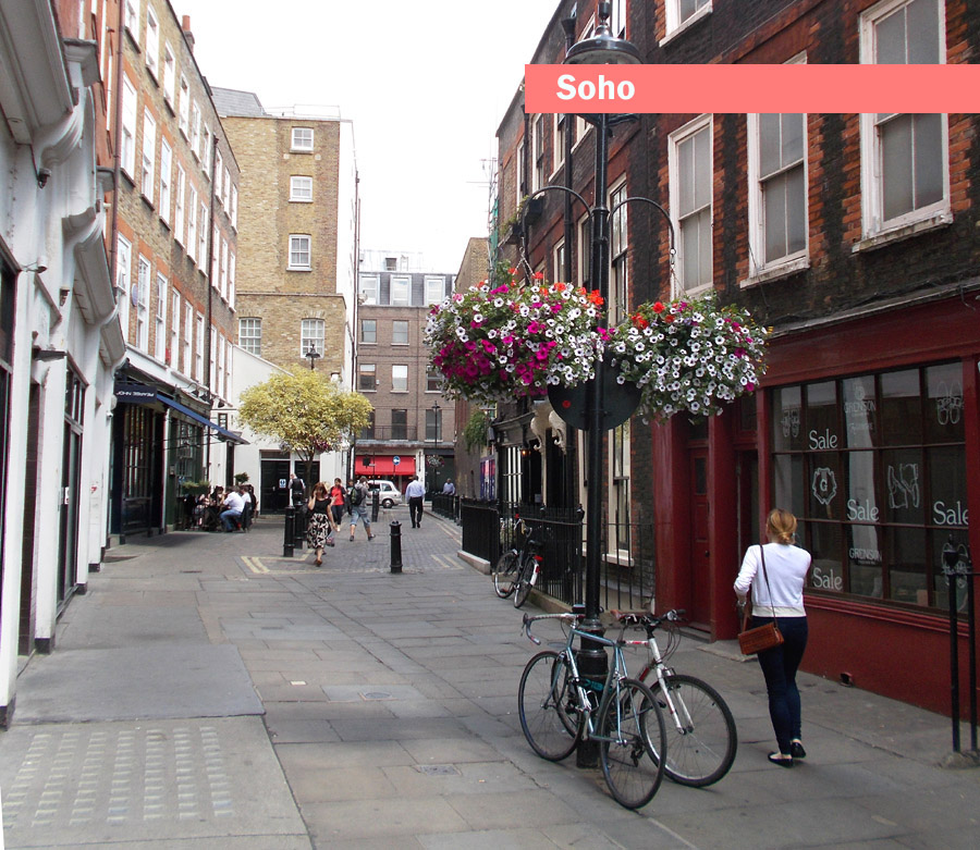 A typical street in London's Soho