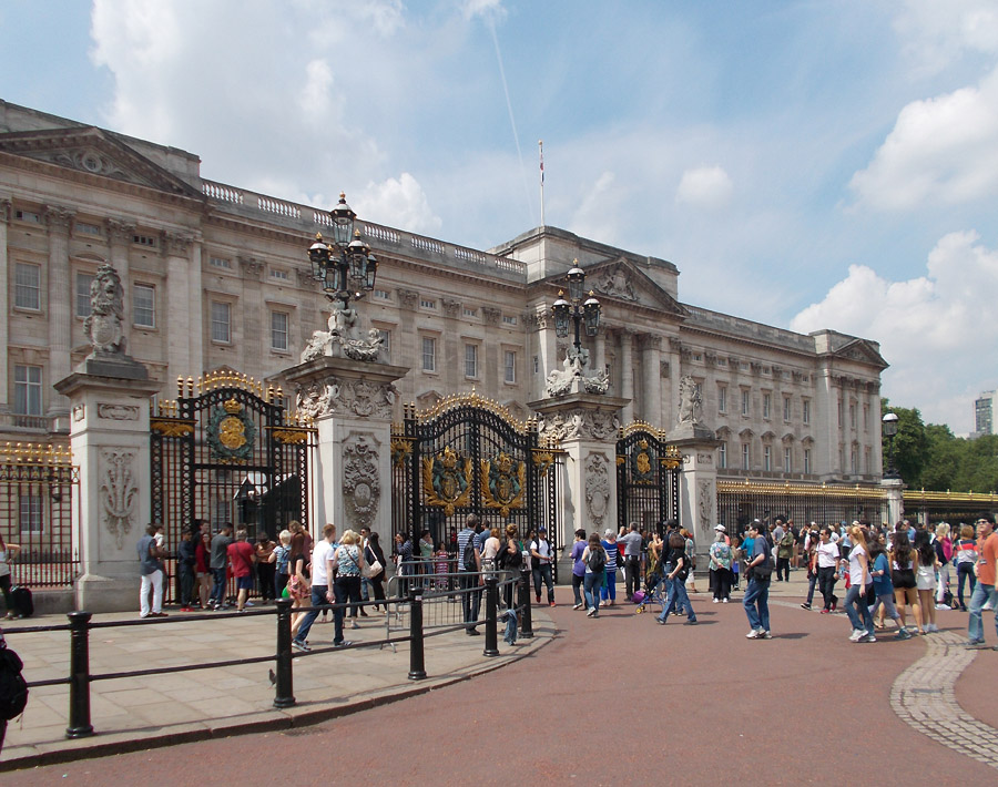 Outside the gates of Buckingham Palace in London