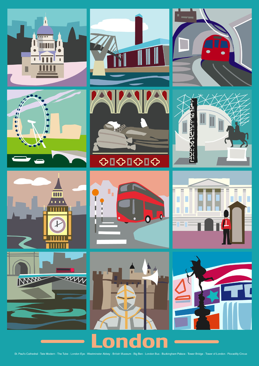 London Poster For Printing Out 12 Famous London Sights