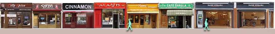 Panorama of Bangladeshi curry restaurants from 138 Brick Lane