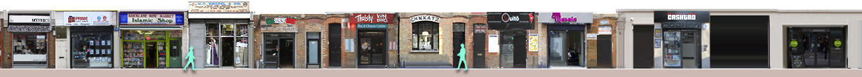 Panorama of restaurants and shops on Brick Lane from 104