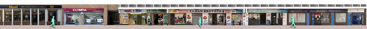 Panoramia of shops and restaurants on Brick Lane 13 to 25