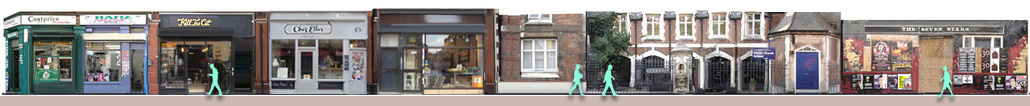 Panorama of Brick Lane retailers and restaurants from number 41