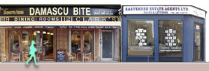 Panorama of Brick Lane shops and restaurants from number 119