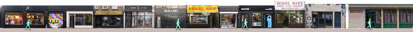 Panorama of shops and restaurants on Brick Lane from 143