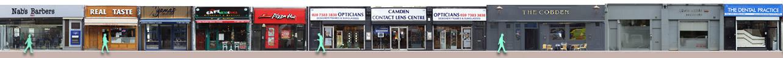 Shops and restaurants on Camden High Street