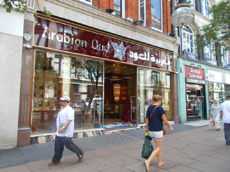 Arabian Oud fragrance shop on London's Oxford Street.