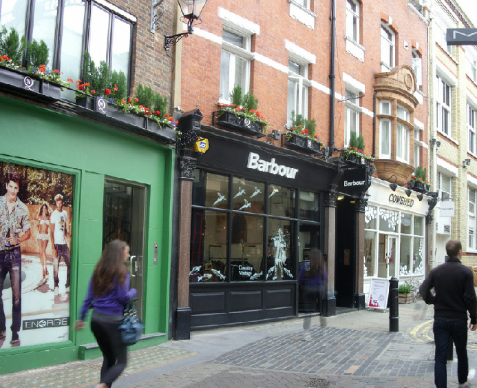 Barbour outdoor clothing shop in London