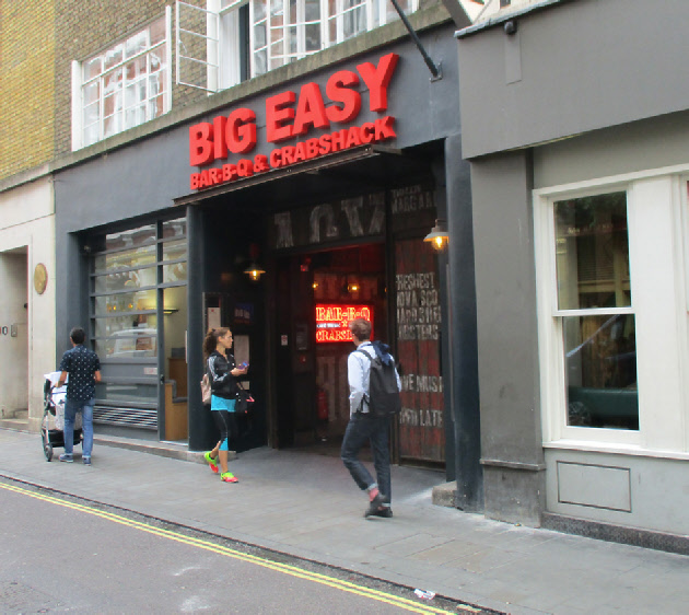 Big Easy American BBQ restaurant in London's Covent Garden