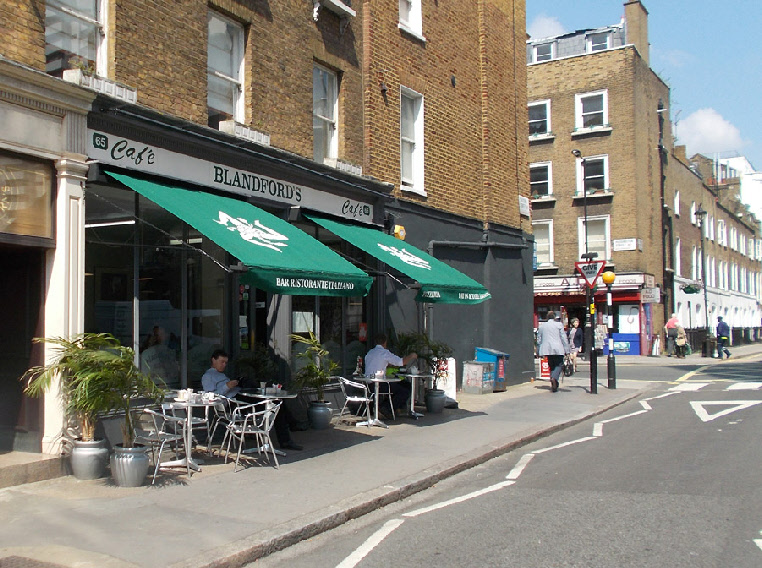 Blandfords cafe in London's Marylebone