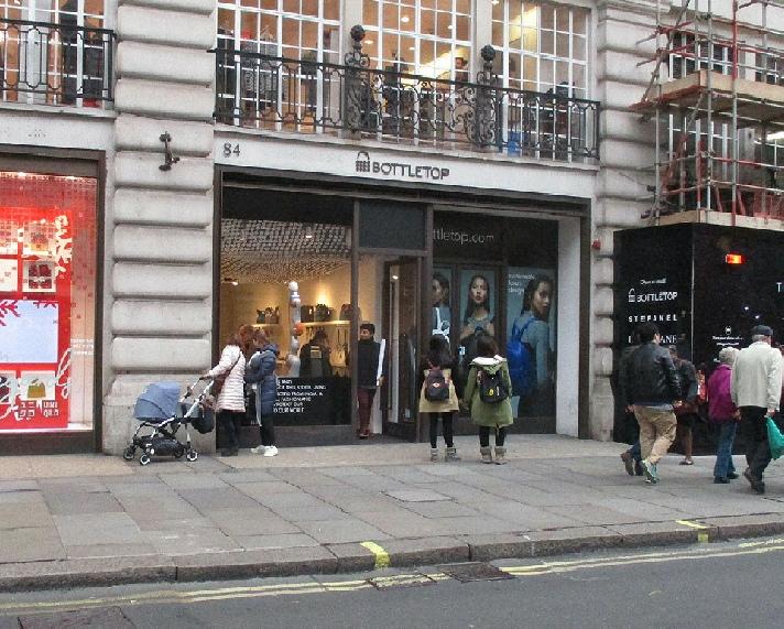Bottletop bags shop on London's Regent Street