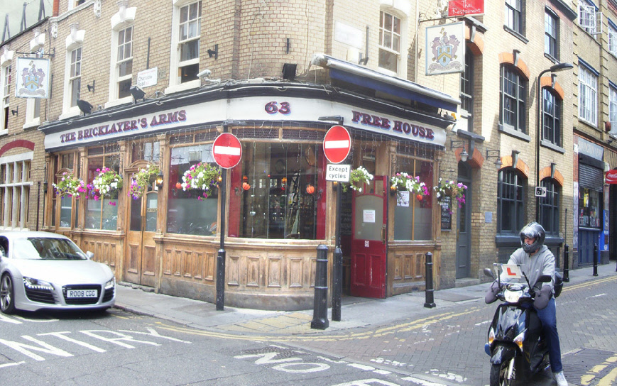 The Bricklayers Arms pub in London's Shoreditch