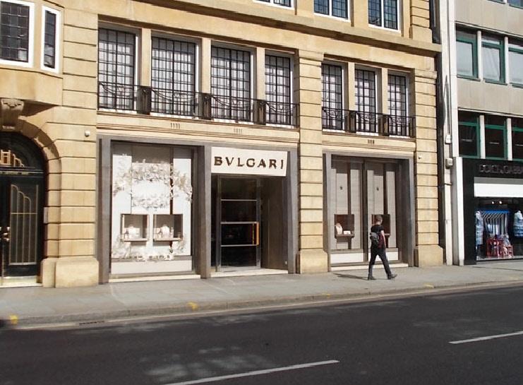 Bulgari jewellery shop on Sloane Street in London's Knightsbridge
