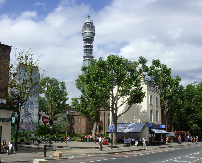 Caffe Nero with BT Tower in London's Fitzrovia