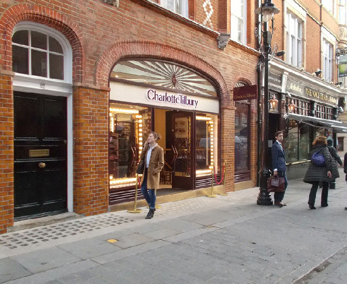 Charlotte Tilbury make-up shop in London's Covent Garden