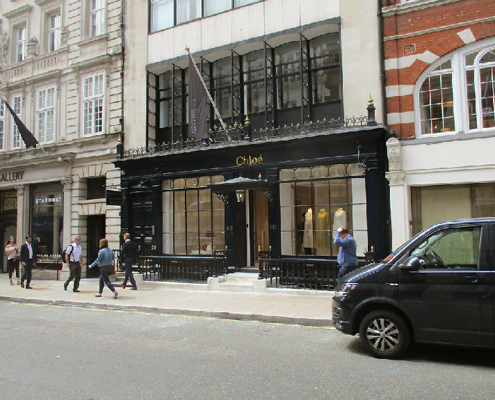 Chloé womenswear shop on Old Bond Street in London's Mayfair