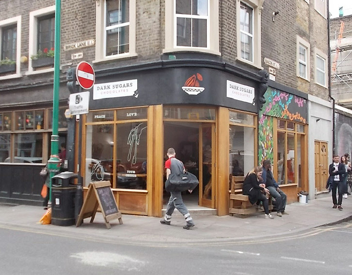 Dark Sugars chocolates shop on Brick Lane in London