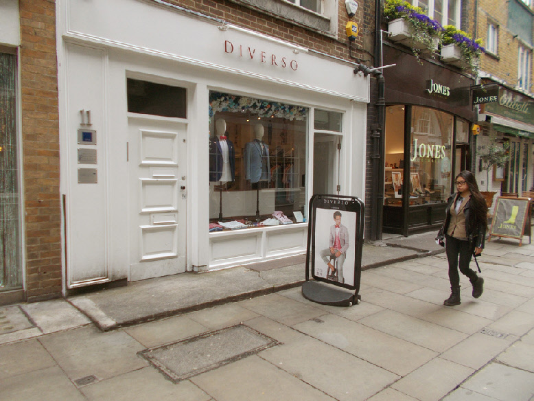 Diverso menswear shop on St. Christopher's Place in London's Marylebone