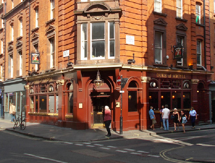 The Duke of Argyll pub in London's Soho, at the corner of Windmill Street.