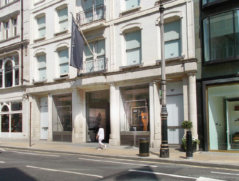 Emporio Armani fashion shop in London's Mayfair