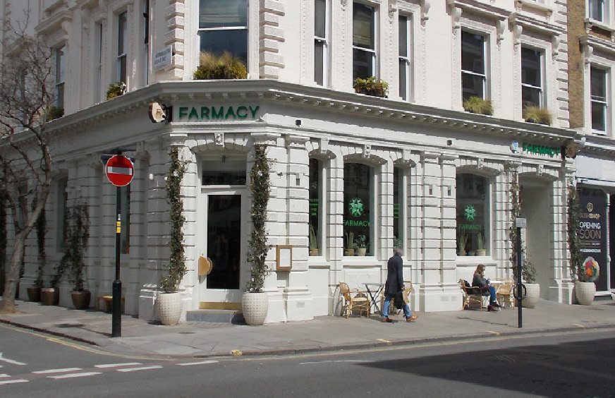 Farmacy vegetarian restaurant on Westbourne Grove in London's Notting Hill.