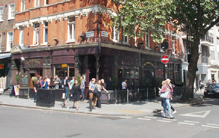 The Fitzroy Tavern on Charlotte Street in London's Fitzrovia