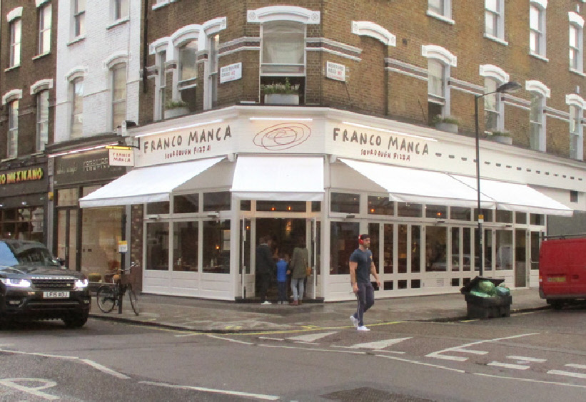 Franco Manca pizza restaurant on London's Westbourne Grove