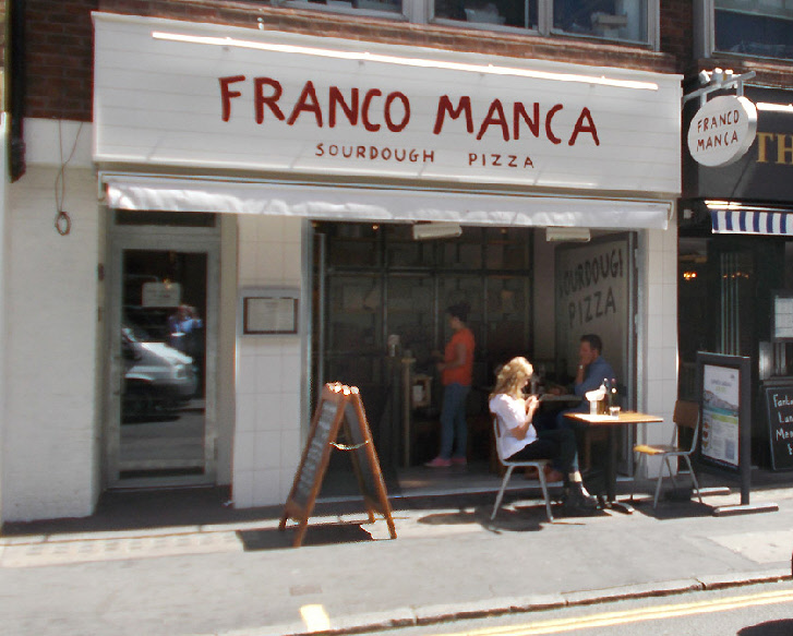 Franco Manca pizza restaurant in London's Soho