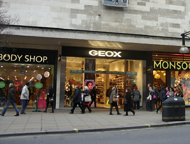 Geox shoe shop on London's Oxford Street