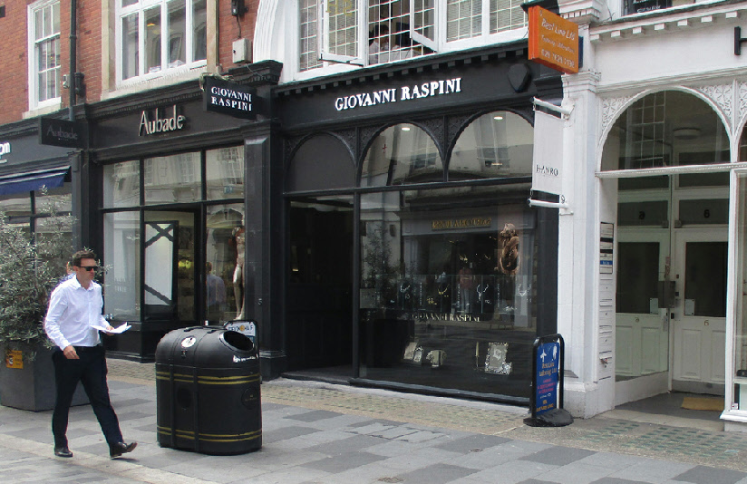 Giovanni Raspini jewellery shop in London's Mayfair