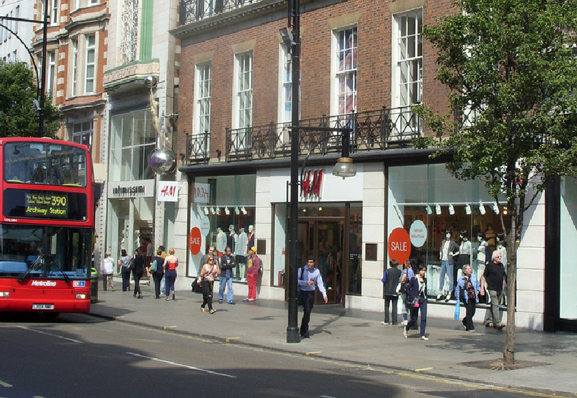 H and M store on London's Oxford Street, near to Bond Street station
