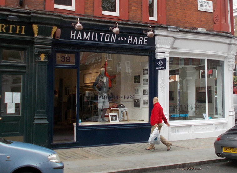 Hamilton and Hare menswear shop in London's Marylebone