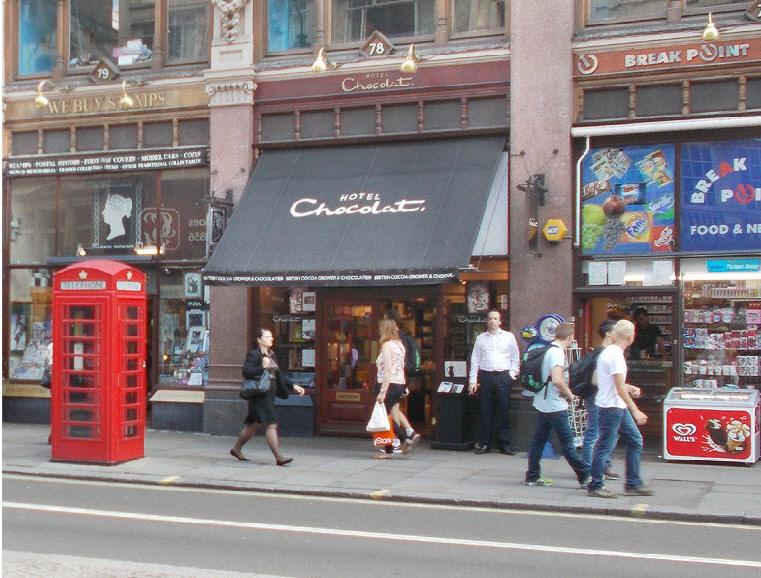 Hotel Chocolat chocolates shop on London's Strand