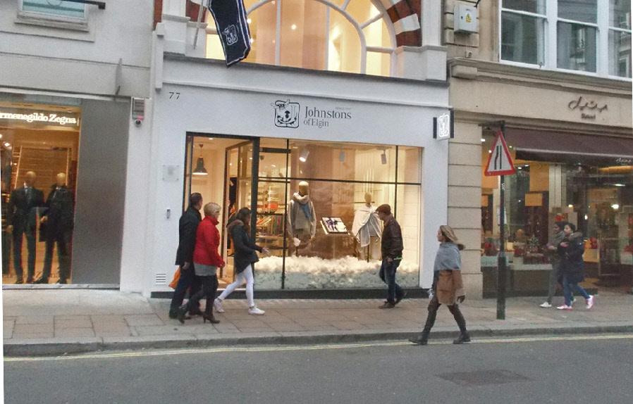 Johnstons of Elgin cashmere shop on Bond Street in London's Mayfair
