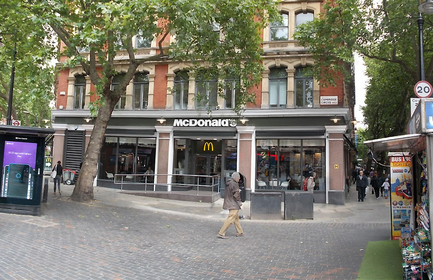 McDonalds burger restaurant at Cambridge Circus in London's West-End