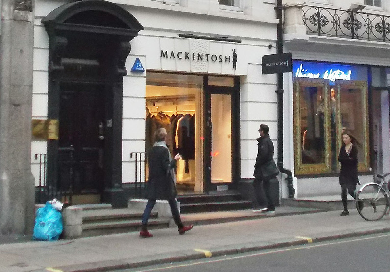 Mackintosh coats shop in London's Mayfair