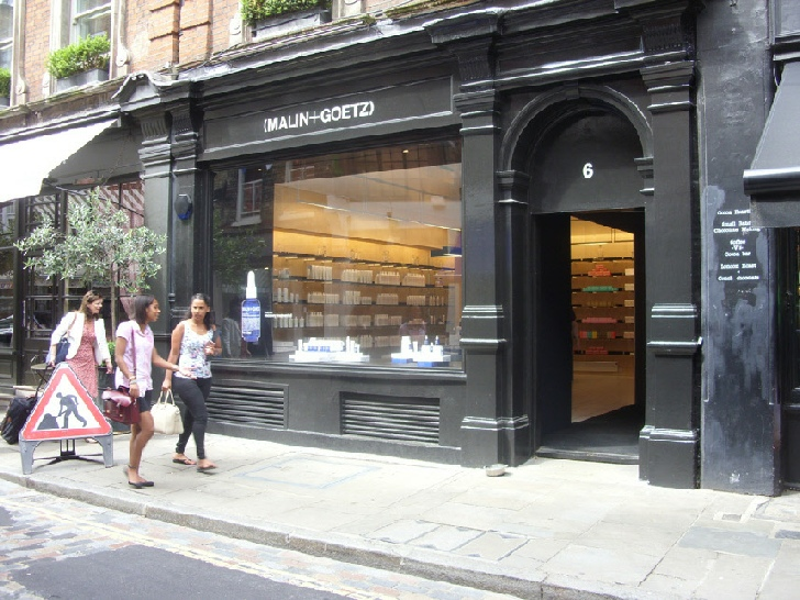 Malin and Goetz skincare shop in London's Covent Garden