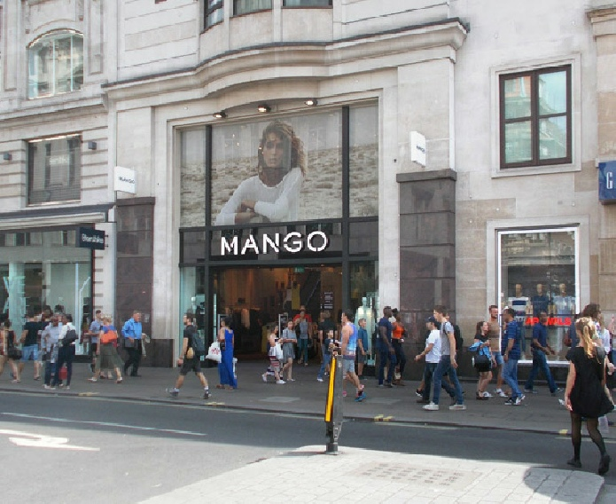 Mango womenswear store at Oxford Circus in central London