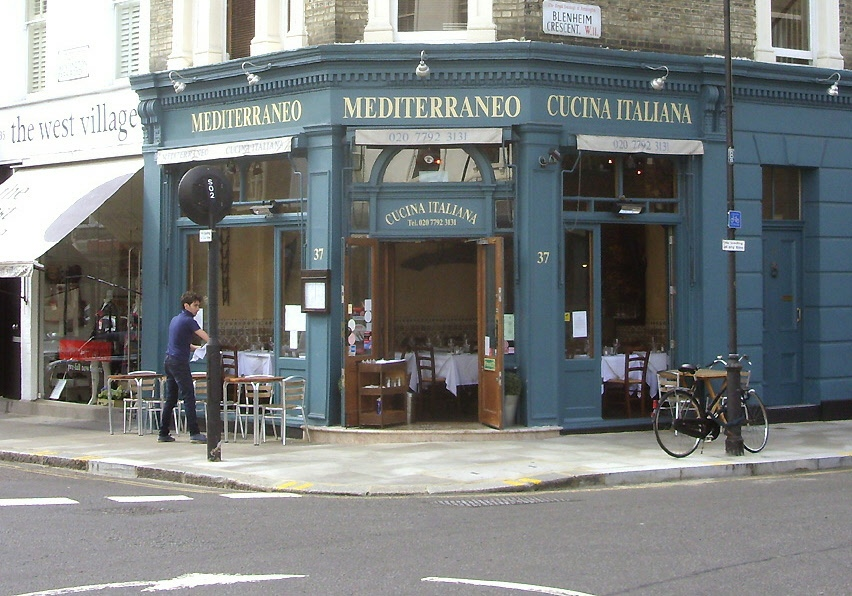Mediterraneo Italian restaurant in London's Notting Hill