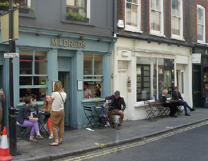 Mildred's restaurant in London's Soho, near to Carnaby Street.
