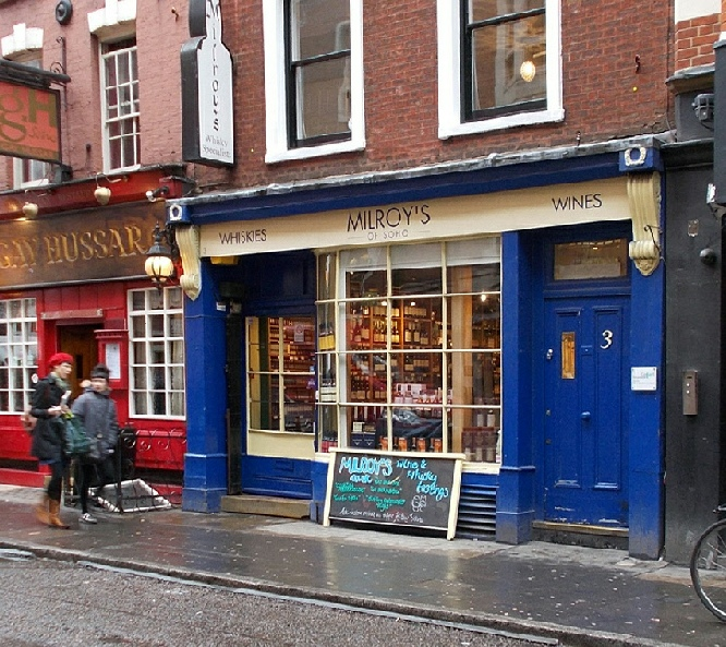 Milroy's whisky shop in London's Soho