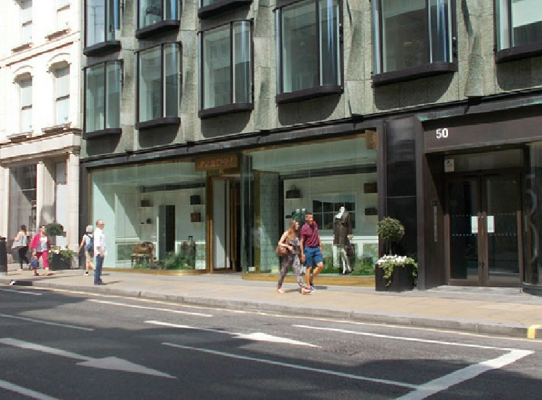 Mulberry leather goods and fashions store on London's Bond Street.