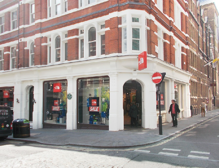 North Face outdoor clothing shop in London's Covent Garden