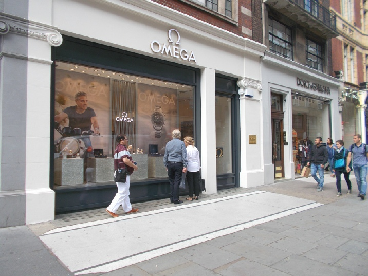 Omega watches shop in London's Knightsbridge