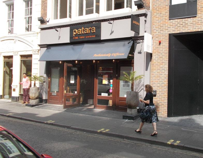 Patara Thai restaurant on Greek Street  in London's Soho